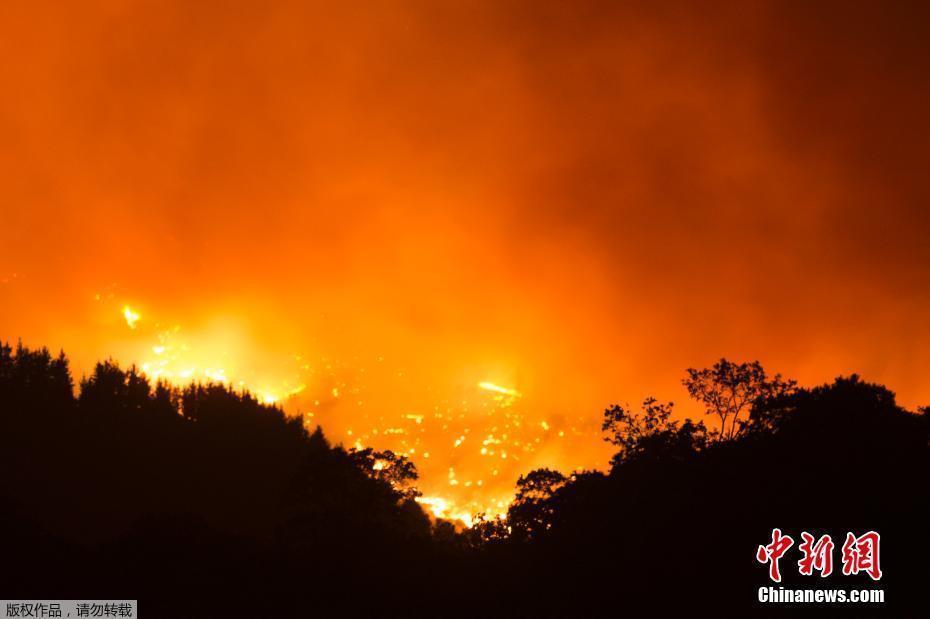 西班牙山火迫使民众撤离 烟雾滚滚